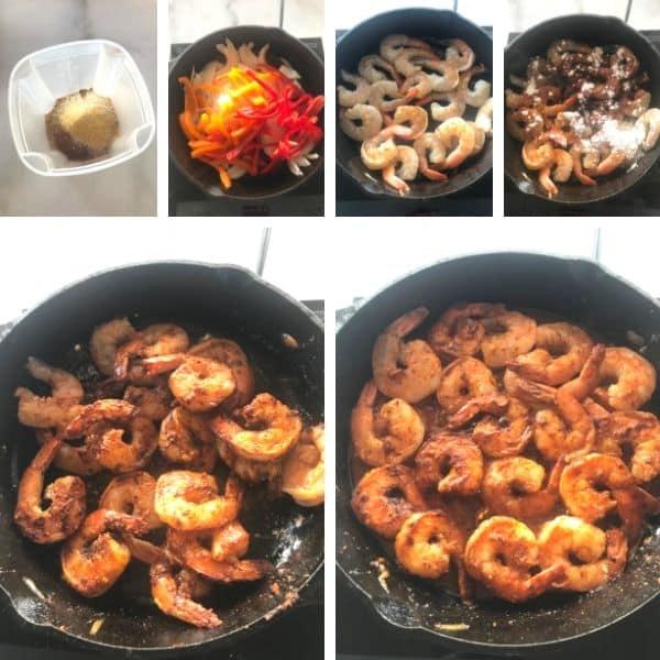 Step by step photos for making Shrimp Fajita