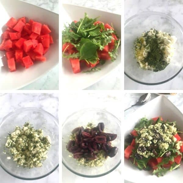Step by step photos for making watermelon feta salad