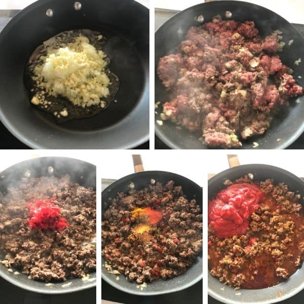 Step by step photos for making sloppy joes