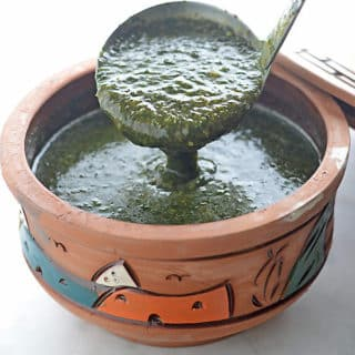 A bowl filled with Mulukhia