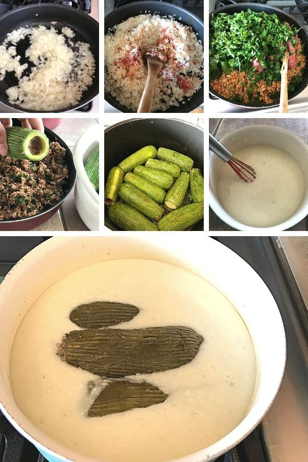 Step by step guide to how to make stuffed zucchini.