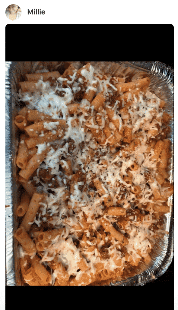 A close up of a baked ziti pasta made by a fan