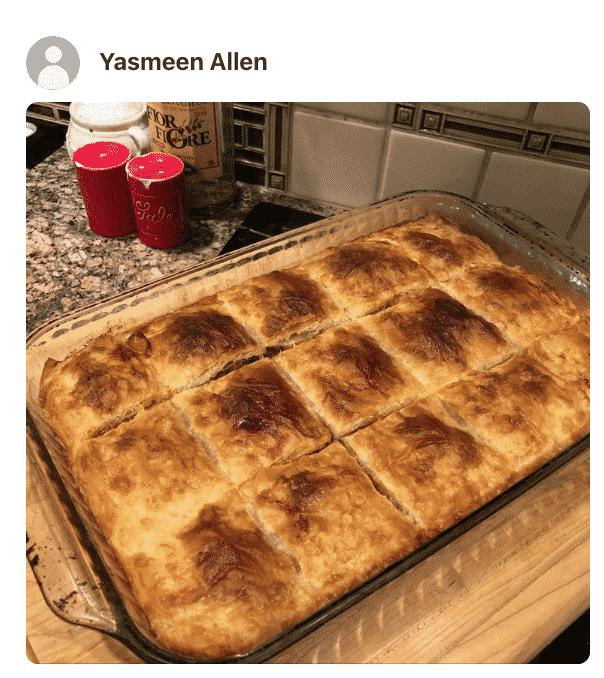 A phyllo pie in a pan, photo by a fan