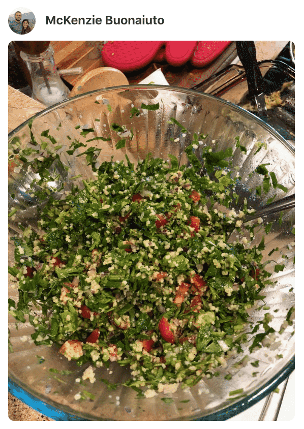 A bowl with tabbouleh, made by a fan
