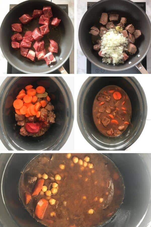 Step by step photos for making Beef Stew in crockpot