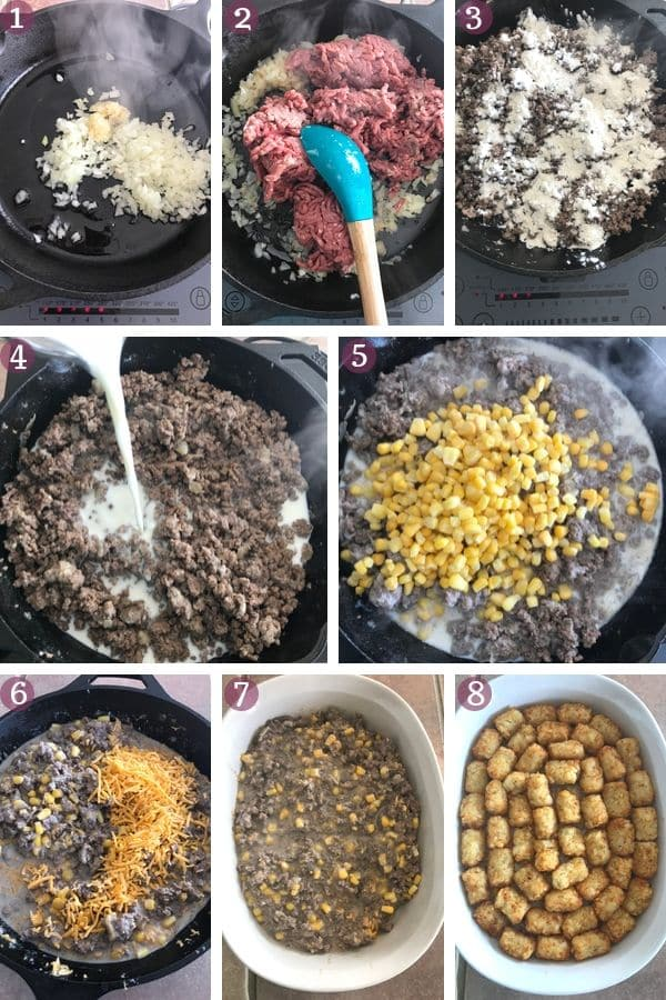 Step by step photos for making Tater tot casserole