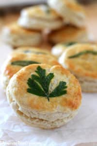Biscuits on a crumbled parchment paper with one on the front that has a parsley leaf.