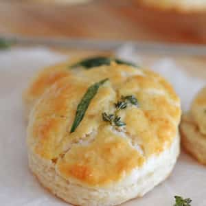 A close up of food on a plate, with Biscuit Buttermilk