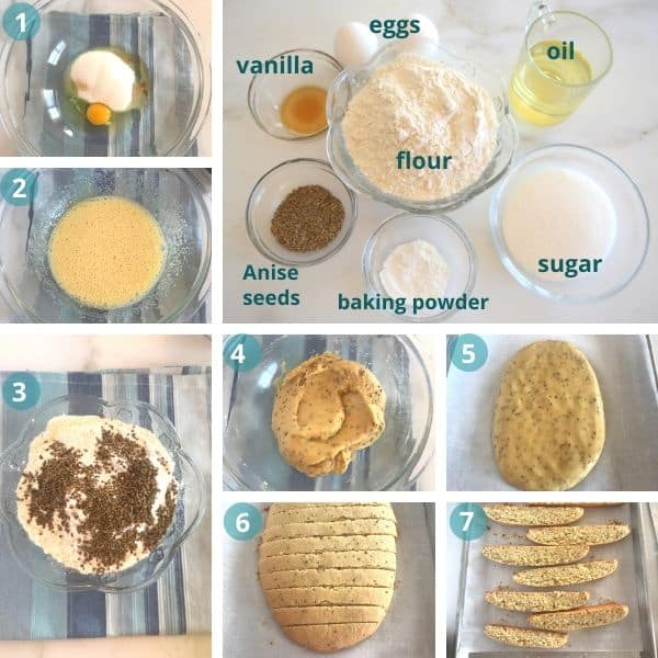 Step by step photos, with Biscotti and Anise. Another photo showing ingredients