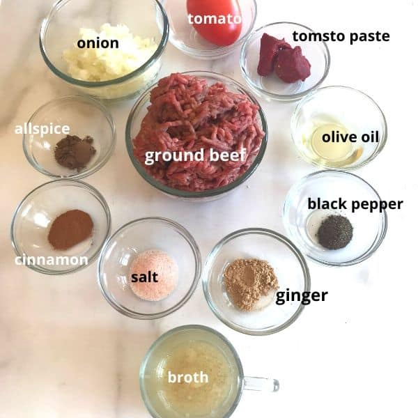 Ingredients for Moussaka recipe