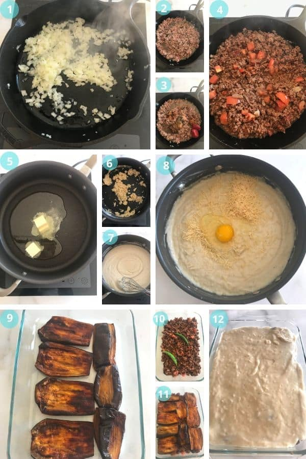 A photo showing step by step photos for Moussaka recipe