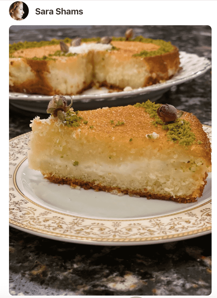 A close up photo of slice of Basbousa Cake on a plate, made by a fan