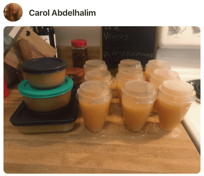 A photo showing several cups for apricot juice made by a fan