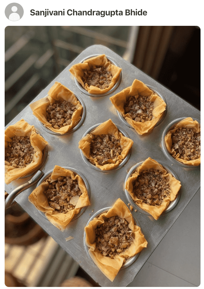 A photos showing mini pecan pies made by a fan