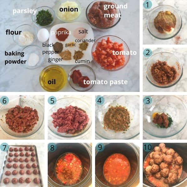Step by step photos with Meatball and Sauce and another one for ingredients