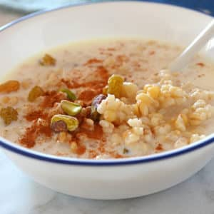 A bowl of wheat berries with milk