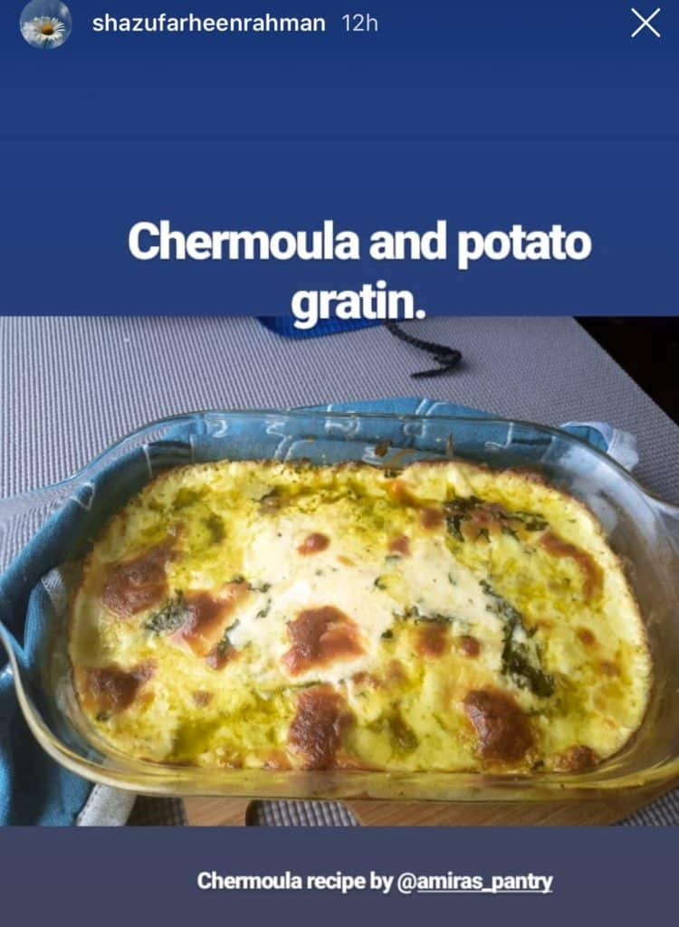 A pan with chermoula and potato sitting on top of a table