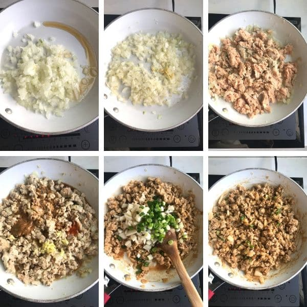 Step by step photos on making ground chicken lettuce wraps