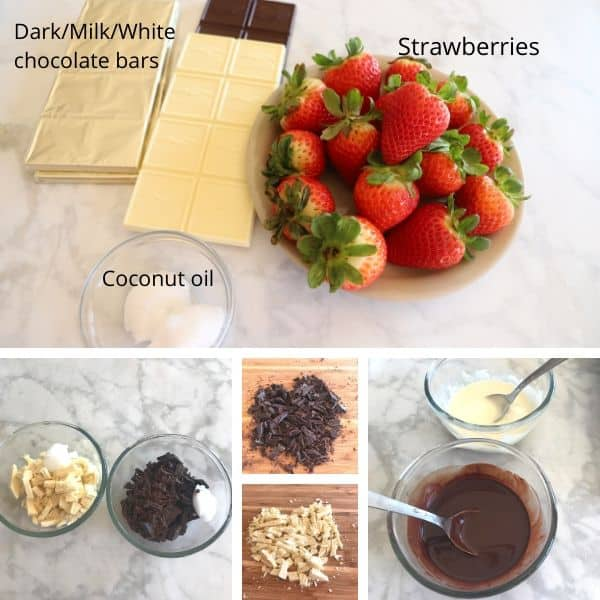 A photo showing ingredients with strawberries, Chocolate in a Bowl