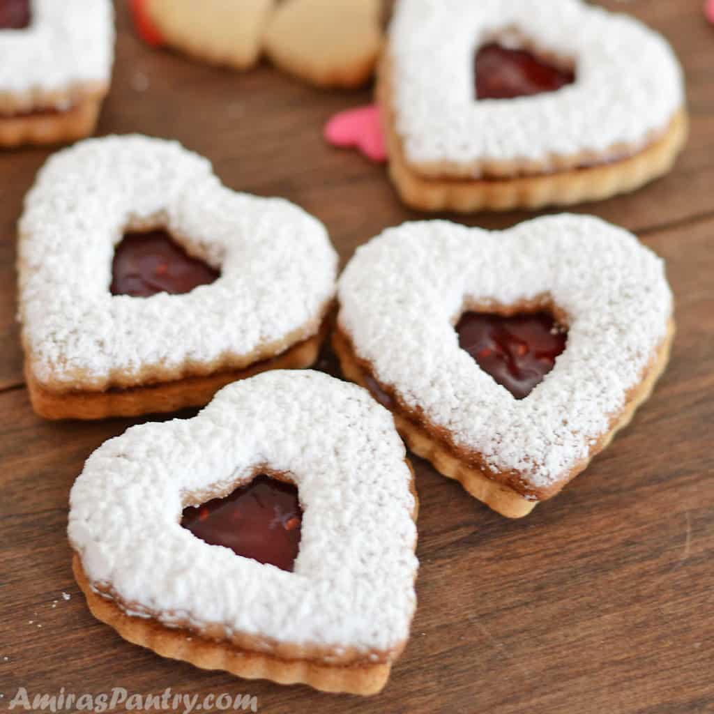 A close up of heart cookies
