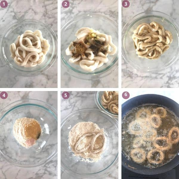 Step by step photos for making fried onions