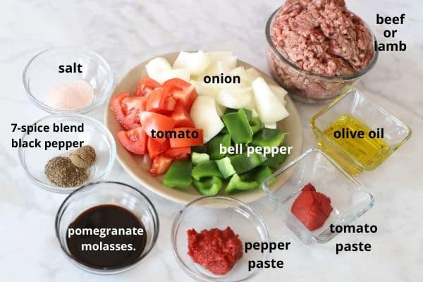 A photos showing Ingredients for making Sfiha