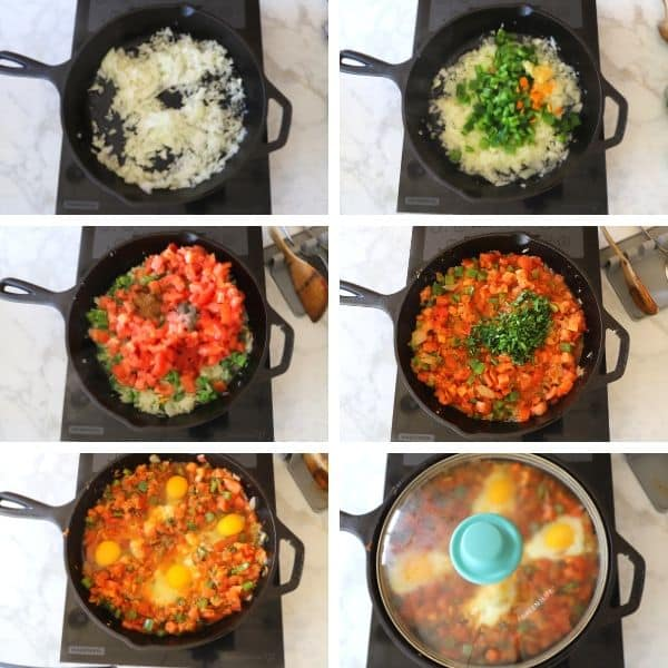 Step by step photos for making shakshuka