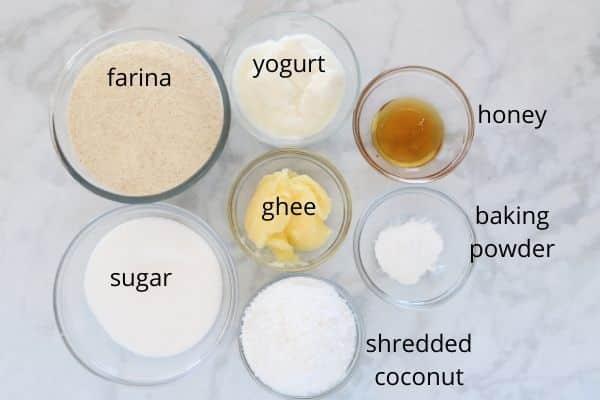 Ingredients for basbousa