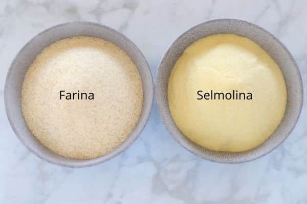 two bowls of semolina and farina