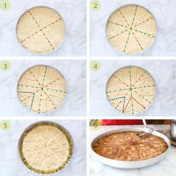 How to cut basbousa into diamonds