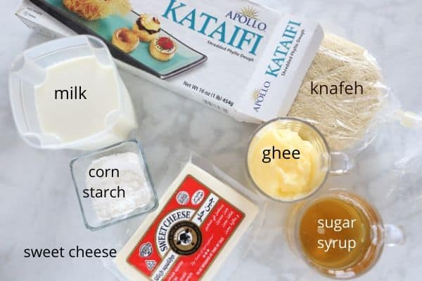 A photo showing ingredients for making Knafeh