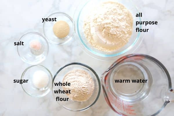 A photo showing ingredients for Taboon bread