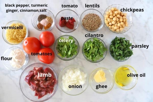 A photos showing ingredients for Harira soup