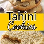 A pinterest collage of two images for tahini cookies.