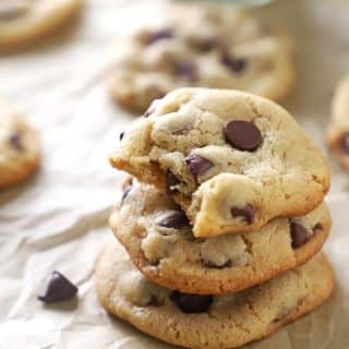A close up of Cookie made with Tahini and chocolate chips