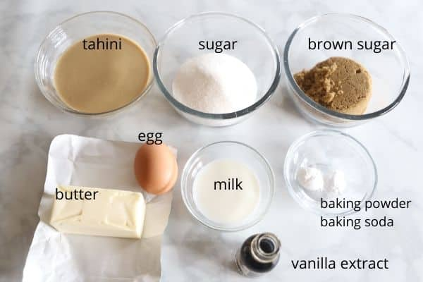A photos showing Ingredients for Tahini cookies