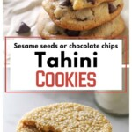 A pinterest collage for tahini cookies.