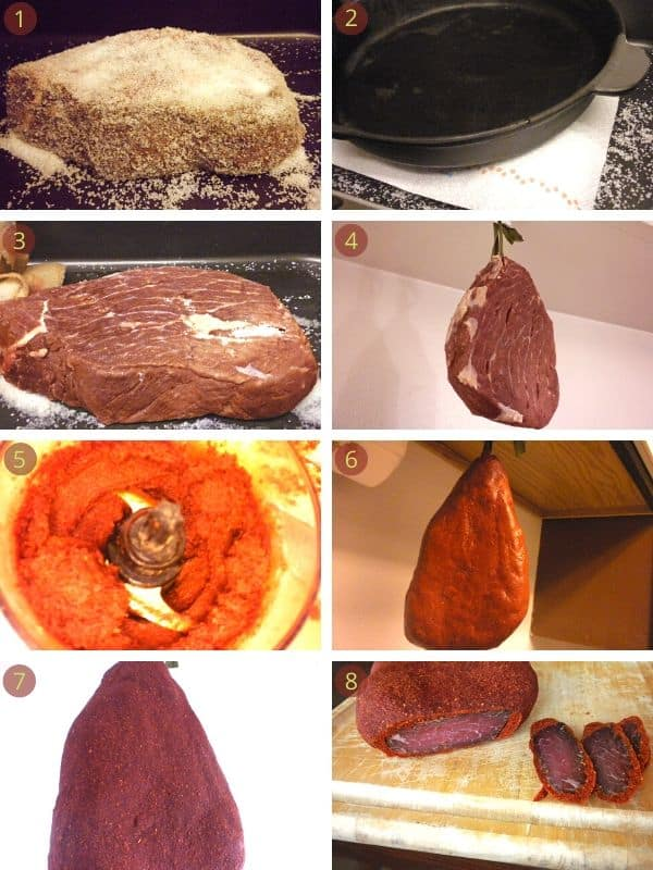 Step by step photos showing red meat and how to make Basturma