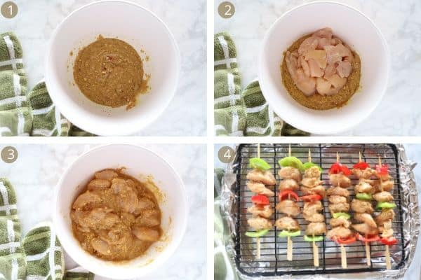 Steps for making shish tawooq