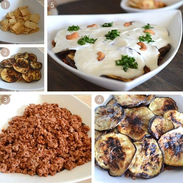 Step by step photos with different types of food, Eggplant and Yogurt
