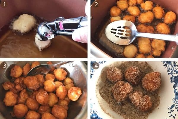 steps for frying loukoumades