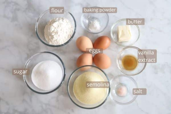 ingredients for revani cake.