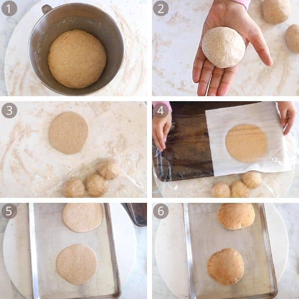 Rolling a shaping whole wheat pita bread