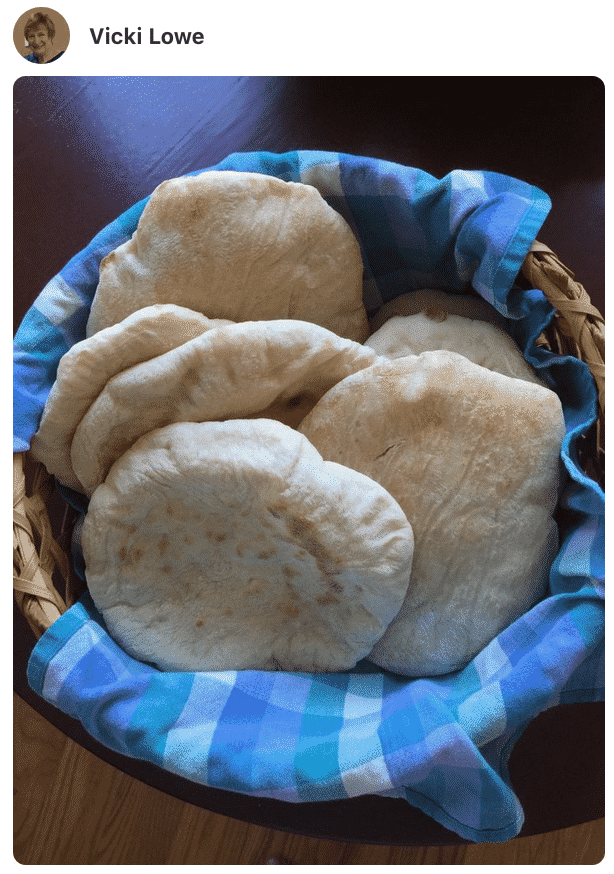 A photo showing Pita bread made by a fan