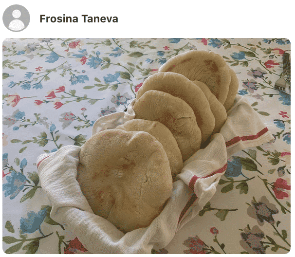 A photo showing Pita bread on a plate made by a fan