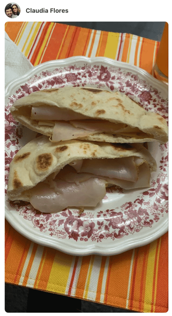 A photo showing stuffed Pita bread on a plate made by a fan