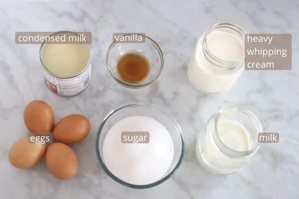 Easy flan ingredients on a marble table