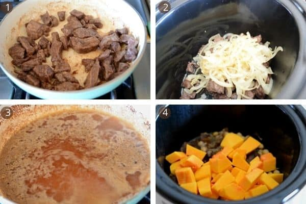 Step by step photos for making Butternut squash beef recipe