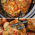A pinterest collage showing chicken thighs in the slow cooker.