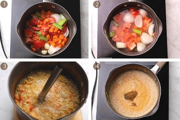 steps for making red lentil soup